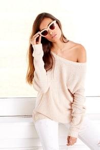 Snuggler's Cove Beige Sweater at Lulus.com!