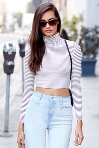 Trend-er's Game Black and Ivory Striped Long Sleeve Crop Top at Lulus.com!