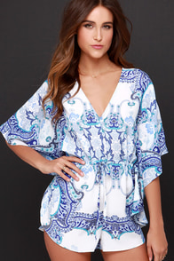 Paisley Palace Blue Print Romper at Lulus.com!