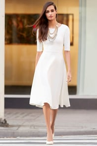 Having a Shindig Ivory Midi Dress at Lulus.com!