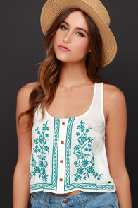 O'Neill Julia Embroidered Cream Crop Top at Lulus.com!