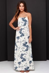 Vintage Collector Navy Blue and Cream Print Maxi Dress at Lulus.com!