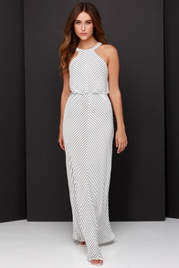 Croquet Queen Black and Ivory Striped Maxi Dress at Lulus.com!