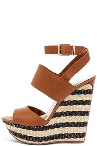 Jessica Simpson Eila Light Luggage Leather Platform Wedges at Lulus.com!