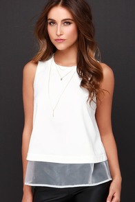 Air Kiss Ivory Sleeveless Top at Lulus.com!
