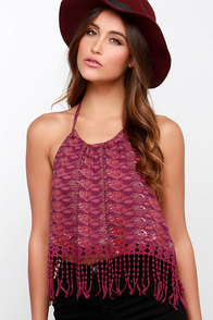 Seashore Stroll Burgundy Print Halter Top at Lulus.com!