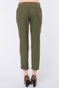 Roxy Ivy Olive Green Pants at Lulus.com!