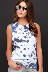 RVCA Label Grey and Blue Tie-Dye Muscle Tee at Lulus.com!