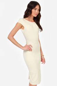 Sexy Cream Dress Bodycon Dress Midi Dress Backless