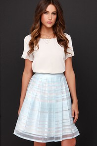 Ice Dream Cream and Light Blue Midi Skirt at Lulus.com!