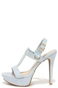 Cute Powder Blue Heels High Heel Sandals Dress Sandals