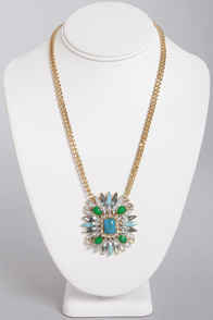 First Things Burst Blue Rhinestone Necklace at Lulus.com!