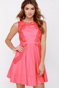 Venetian Rose Coral Pink Dress at Lulus.com!