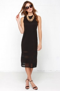 So Mesh and So Clean Black Midi Dress at Lulus.com!