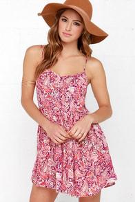 Billabong Luv Confession Red Paisley Print Dress at Lulus.com!