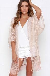 Primp and Proper Blush Lace Kimono Top $46.00 AT vintagedancer.com