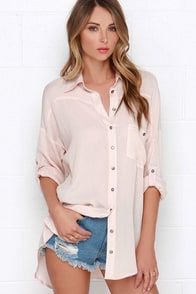 Dee Elle Daydreamer Blush Pink Button-Up Tunic Top at Lulus.com!