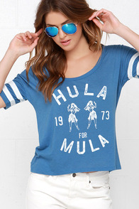 Billabong Hula Time Blue Crop Tee at Lulus.com!