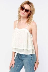 Free Spirit Cream Lace Tank Top at Lulus.com!