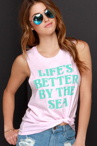 Billabong Sea Is Better Pink Muscle Tee at Lulus.com!