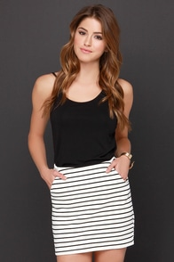 Wait a Mini Black and Cream Striped Mini Skirt at Lulus.com!