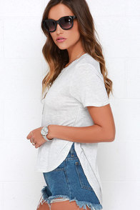 Off We Go Heather Grey High-Low Tee at Lulus.com!