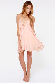 Laced Night Pink Lace Dress at Lulus.com!