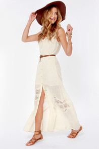 RVCA Daughter Cream Lace Maxi Dress at Lulus.com!