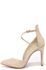 Mia Mona Nude Suede D'Orsay Heels at Lulus.com!