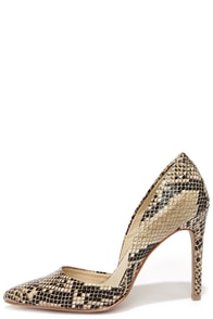 Mia Margo Beige Snakeskin D'Orsay Pumps at Lulus.com!