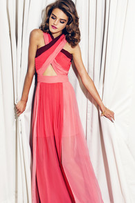 Pleat-er Patter Coral Color Block Maxi Dress at Lulus.com!