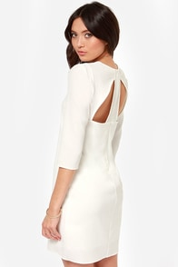 Shifting Me Higher Cutout Ivory Shift Dress