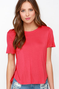 Off We Go Coral Red High-Low Tee at Lulus.com!