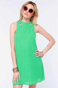 Spell It Out Cutout Green Shift Dress at Lulus.com!