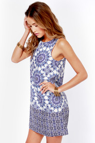 Flourishing Reflections Ivory and Blue Floral Print Dress at Lulus.com!