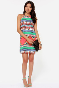 Good as Bold Coral Print Shift Dress at Lulus.com!