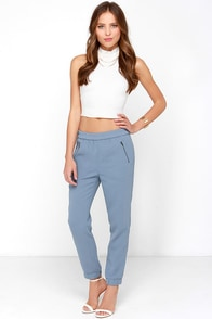 Jump to It Dusty Blue Pants at Lulus.com!