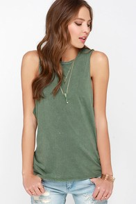 RVCA Boyfriend Washed Olive Green Muscle Tee at Lulus.com!
