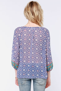 Hippy Hooray Blue Print Top at Lulus.com!