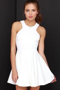 Girlhood To Glam Ivory Skater Dress at Lulus.com!
