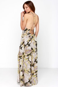 Down the Island Beige Floral Print Maxi Dress at Lulus.com!