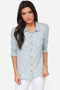 Volcom Weirdette Button-Up Chambray Top