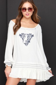 Fest Day Ever Grey and Ivory Embroidered Dress at Lulus.com!