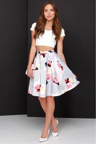 Keepsake Divide Light Grey Floral Print Midi Skirt at Lulus.com!