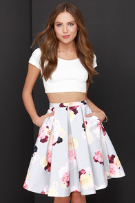 Keepsake Divide Light Grey Floral Print Midi Skirt at Lulus.com!