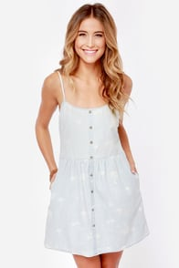 Volcom Weirdette Print Chambray Babydoll Dress