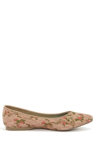 Blowfish Dame Tan Floral Print Lace Pointed Flats at Lulus.com!