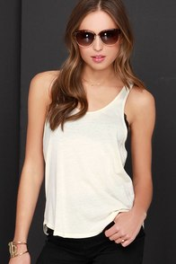 Obey Patti Cream Tank Top at Lulus.com!