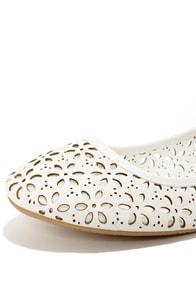 Mixx Shuz Flora White Cutout Ballet Flats at Lulus.com!