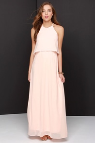 Dee Elle Hue Are Lovely Peach Lace Maxi Dress at Lulus.com!